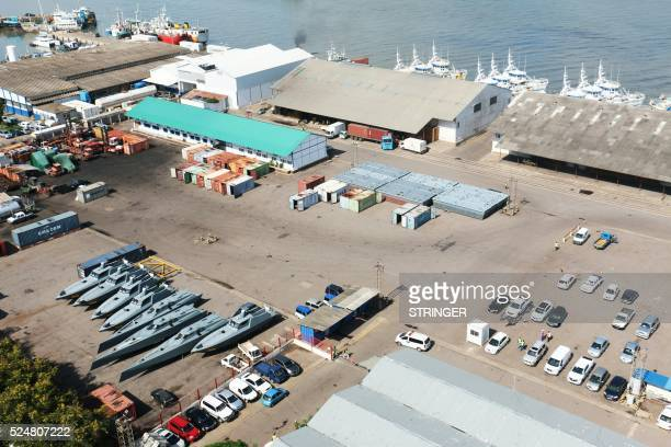 Fishing Boats from Ematum and 8 speedboats belonging to Mozambican state company Proindicus are seen on a quay at the Maputo Harbour in Maputo on...