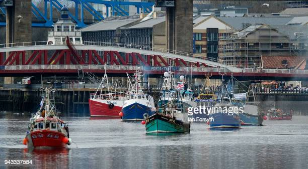 Fishing boats head downriver on the River Tyne as fishermen take part in a nationwide protest against the Brexit transition deal on April 8 2018 in...