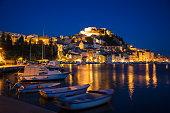 fishing boats illuminated st michaels fortress