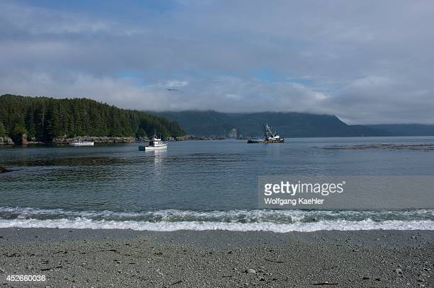 Fishing boats in bay at George Island off Chichagof Island Tongass National Forest Alaska USA
