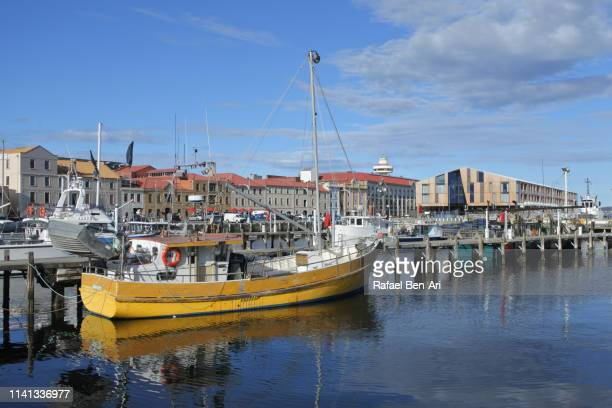 fishing boats in constitution dock hobart tasmania australia - rafael ben ari stock pictures, royalty-free photos & images