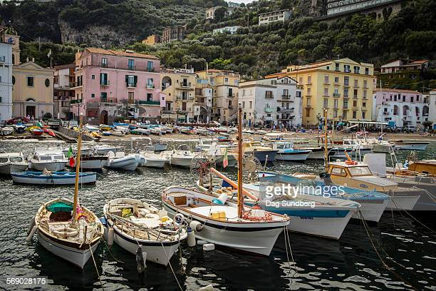fishing boats in marina grande in sorrento, italy - sorrento stock pictures, royalty-free photos & images