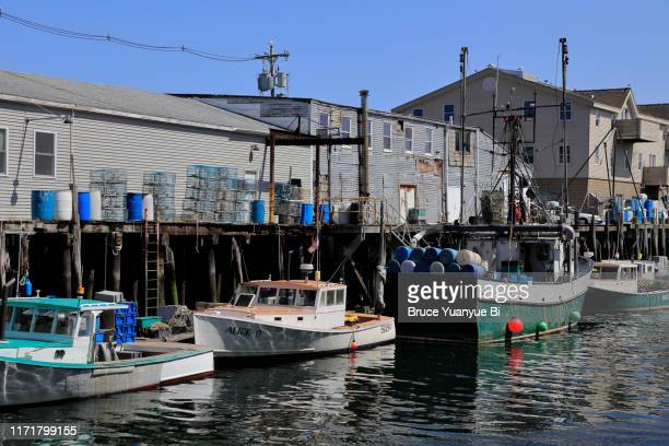 fishing boats in old port - fishing boat stock pictures, royalty-free photos & images