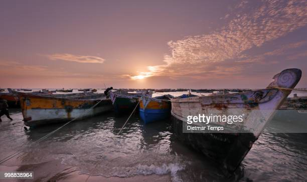 fishing boats in pamban beach, india - dietmar temps 個照片及圖片檔
