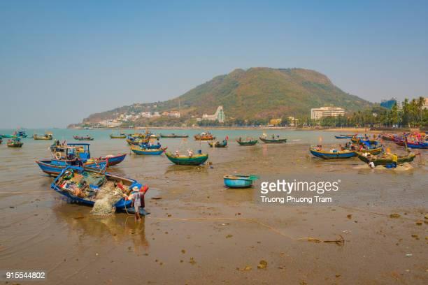 Fishing boats in the bay, Long son - Long Hai, Ba Ria - Vung Tau, Viet Nam.