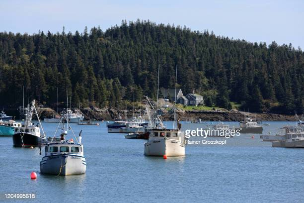 fishing boats in the bay of a tranquil small village on maines atlantic coast - rainer grosskopf stock pictures, royalty-free photos & images