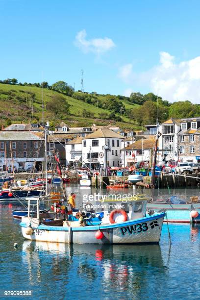 Fishing Boats In The Harbor At Mevagissey Cornwall England Britain Uk