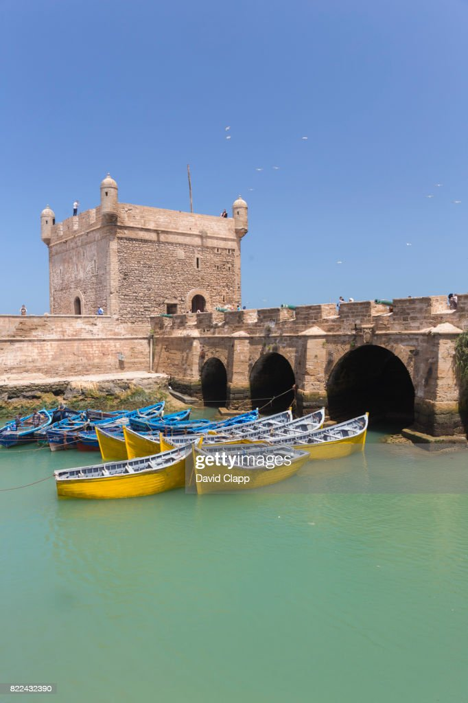 Fishing boats in the harbour, Essaouira, Morocco : Stock Photo