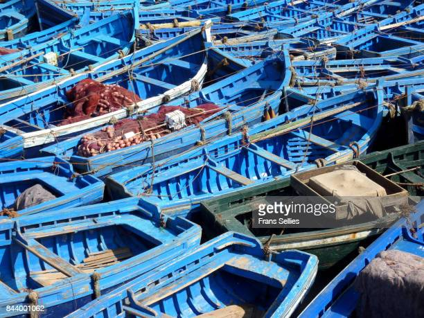 fishing boats in the harbour of essaouira, morocco - frans sellies stockfoto's en -beelden