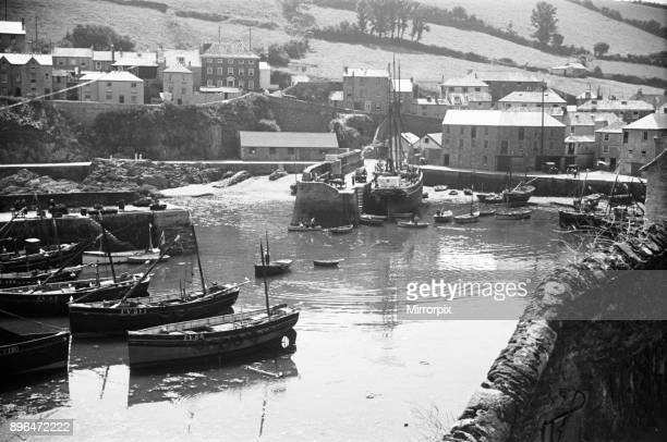 Fishing boats in the inner harbour Mevagissey July 1939