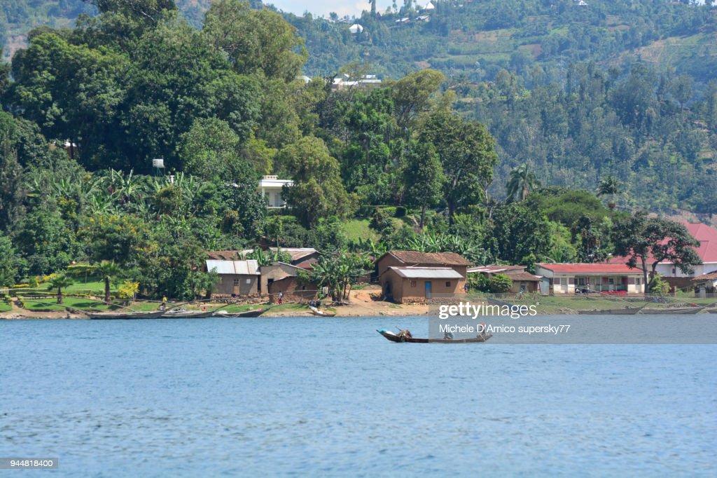 Fishing boats in the Rubona Cove on lake Kivu : Stock Photo