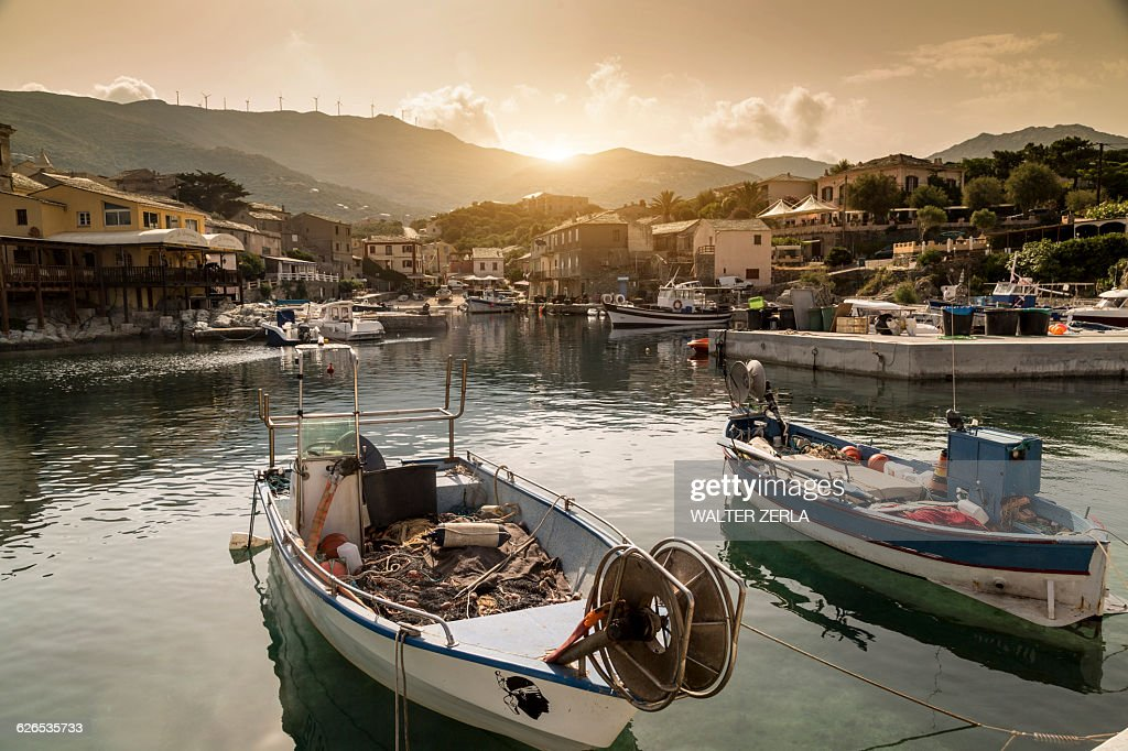 Fishing boats in traditional harbour, Centuri, Corsica, France : Stock Photo