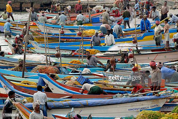 Fishing boats Kanyakumari Tamil nadu India