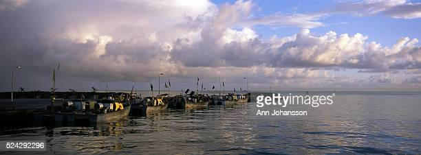 Fishing boats lie in the harbor by the fish market in Apia Upolu Island Western Samoa