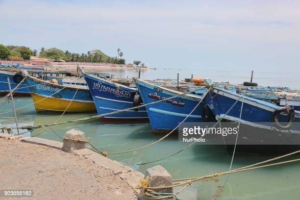 Fishing boats moored along Nainativu Island in the Jaffna region of Sri Lanka