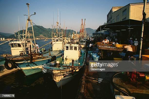 Fishing boats moored at a port, Uwajima, Ehime, Shikoku island, Japan
