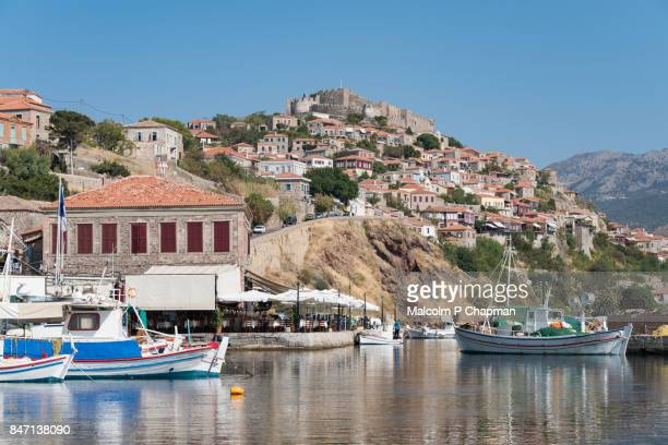 Fishing boats moored in Molyvos harbour, Lesvos, Greece.