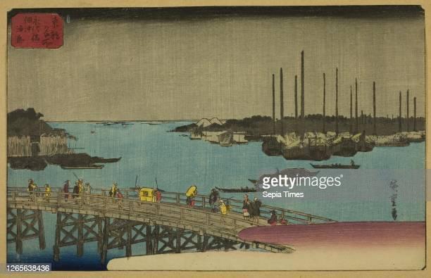 Fishing Boats near Eitai Bridge in Tsukuda Bay . From the series Famous Places in the Eastern Capital . C. 1852/58. Utagawa Hiroshige . Japanese....