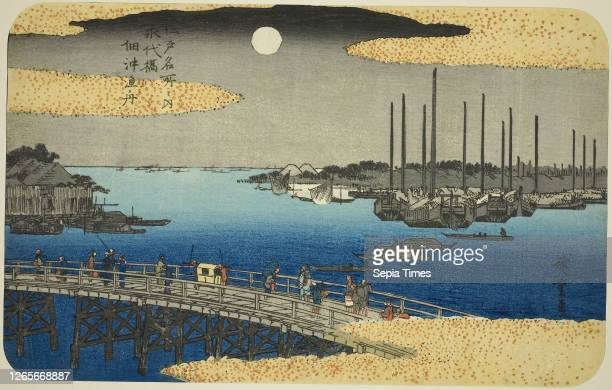 Fishing Boats near Eitai Bridge in Tsukuda Bay from the series Famous Places in Edo c 1832/34 Utagawa Hiroshige 歌川 広重 Japanese 17971858 Japan Color...