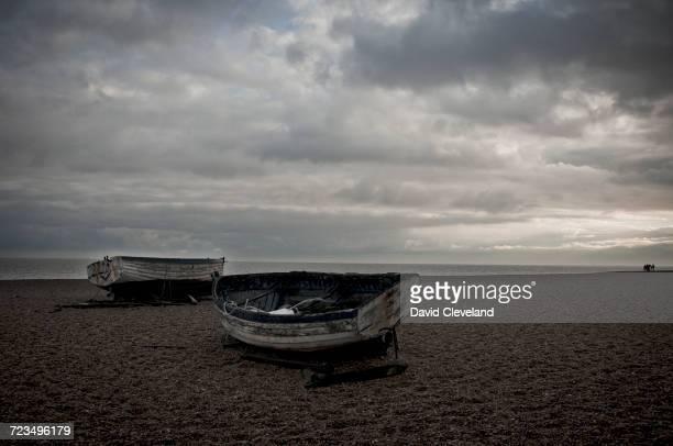 Fishing boats on beach, Aldeburgh, Suffolk, England