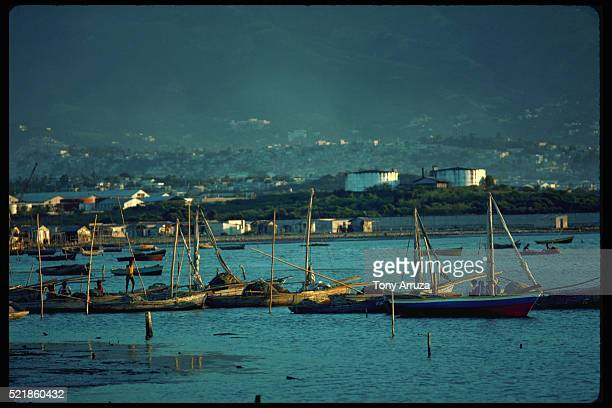 fishing boats on fisherman's wharf, port-au-prince - port au prince stock pictures, royalty-free photos & images