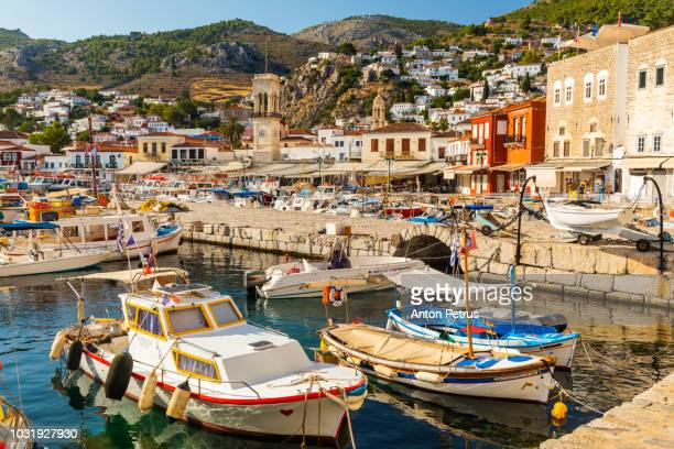 fishing boats on hydra island, greece - hydra greece photos stock pictures, royalty-free photos & images