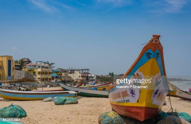 Fishing boats on Mahabalipuram beach, Tamil Nadu, India