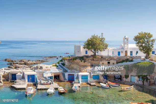 Fishing boats on Mandraki village, Milos, Greece