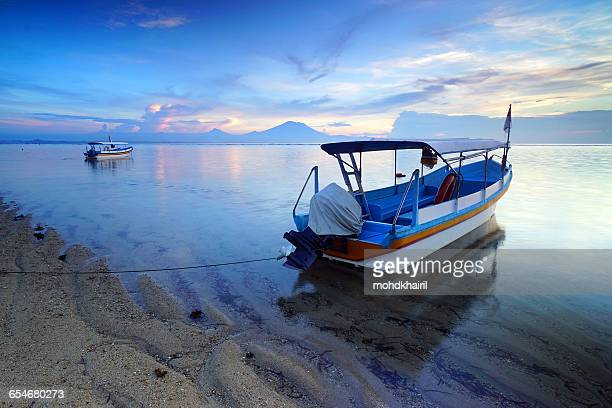 Fishing boats on Sanur beach, Bali, Indonesia
