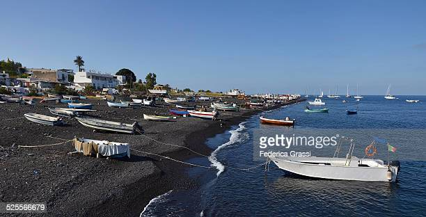 Fishing Boats on the beach at Stromboli