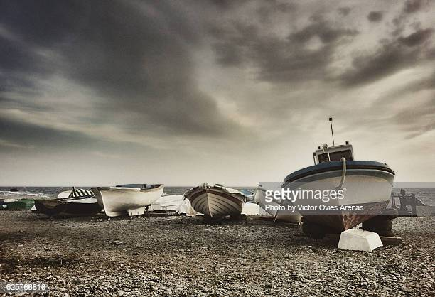 Fishing boats on the beach in Almuñecar, Costa Tropical, Granada, Spain