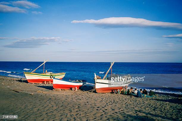 Fishing boats on the beach, Marbella, Andalusia, Spain