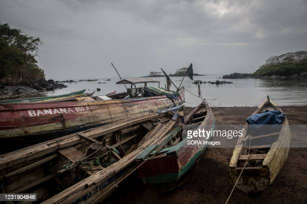 Fishing boats on the coast of Dublin in Sierra Leone's Banana Islands. The Banana Islands were once a slave trading port. They are now home to a few...