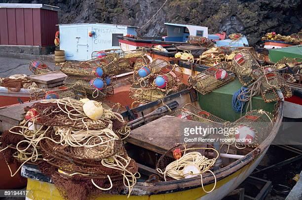 fishing boats on tristan da cunha, mid atlantic - isla tristán de acuña fotografías e imágenes de stock