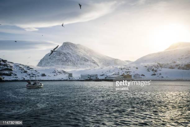 bateaux de pêche dehors pour la morue de skrei dans la mer arctique - océan atlantique photos et images de collection