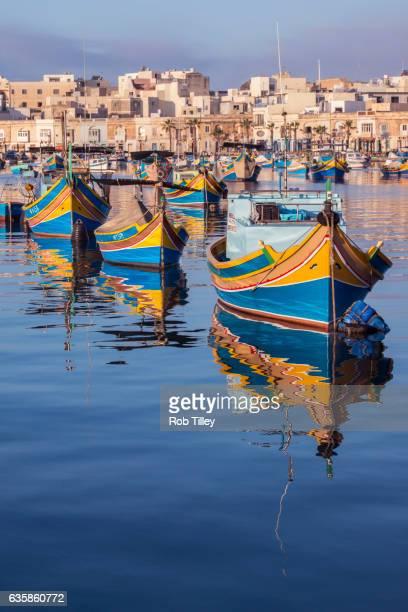 fishing boats - marsaxlokk stock pictures, royalty-free photos & images