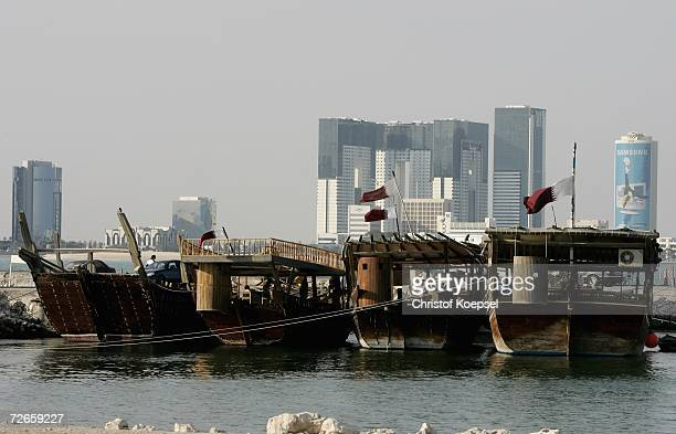 Fishing boats sit in the harbour in the Jasra area of Doha prior to the start of the 15th Asian Games Doha 2006 November 28 2006 in Doha Qatar The...