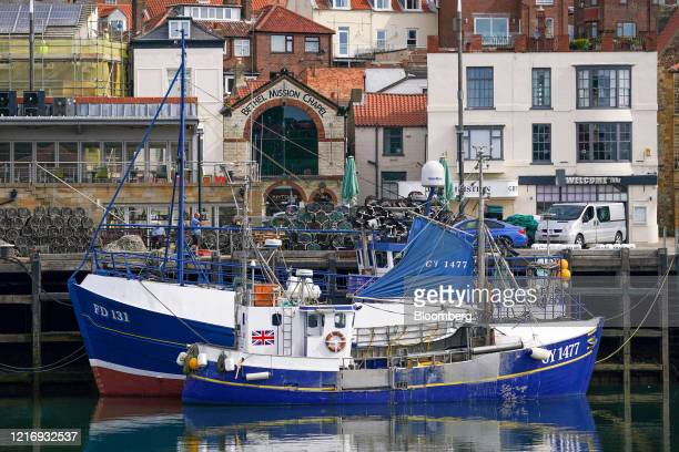 Fishing boats sit moored in the harbour in Scarborough UK on Tuesday June 2 2020 The threat of a nodeal Brexit is back and with it the risk that the...