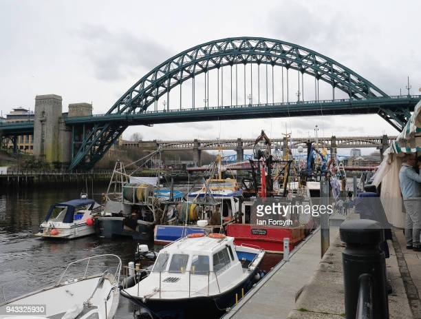 Fishing boats tie up at a pontoon on the Quayside on the River Tyne as fishermen take part in a nationwide protest against the Brexit transition deal...