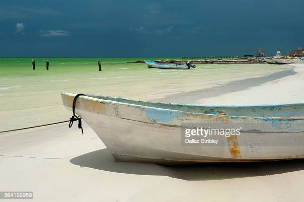 Fishing boats under a stormy sky, Holbox Island