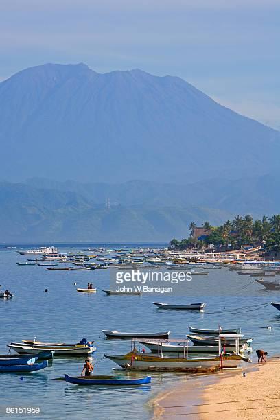 Fishing boats, view of Volcano Bali