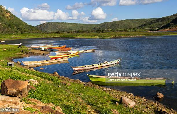 fishing canoes at entremontes town, piranhas city. - piranha photos et images de collection