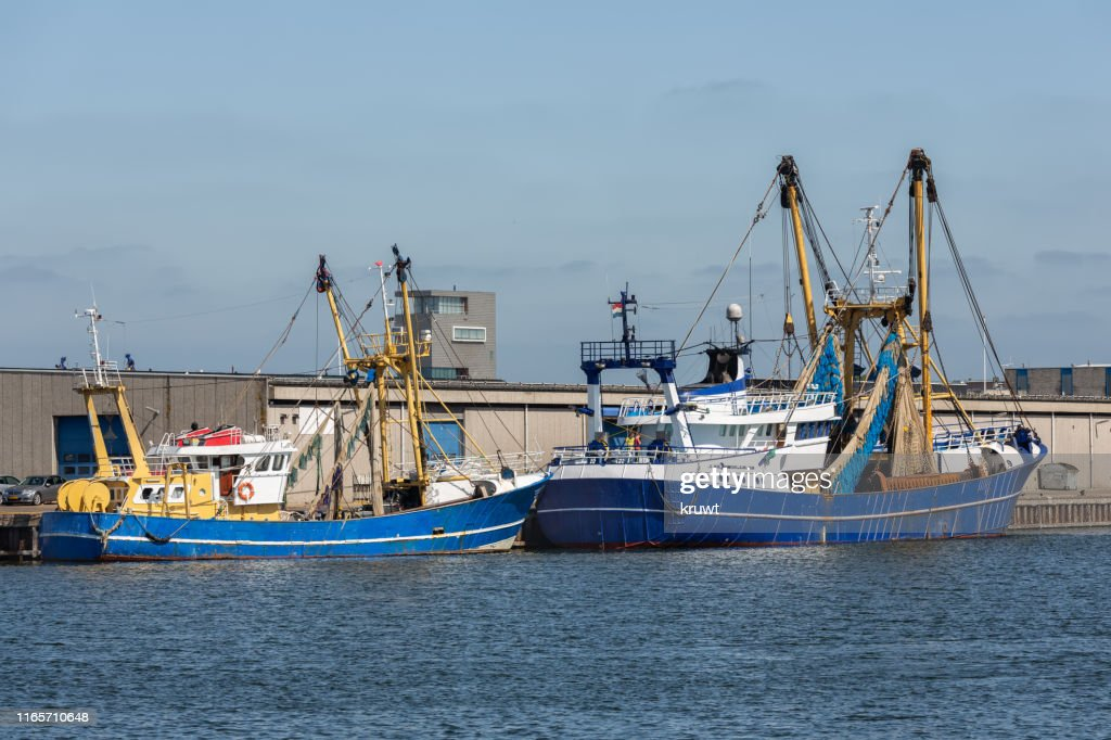 Fishing cutters in harbor Vlissingen, The Netherlands : Stock Photo
