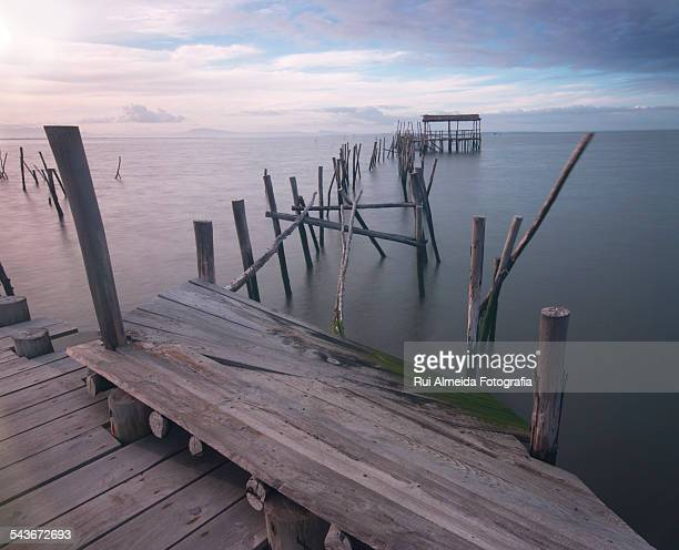 fishing dock - comporta portugal stock photos and pictures