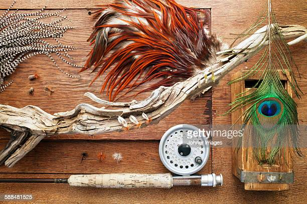 fishing equipment,  close-up - fly casting stock pictures, royalty-free photos & images