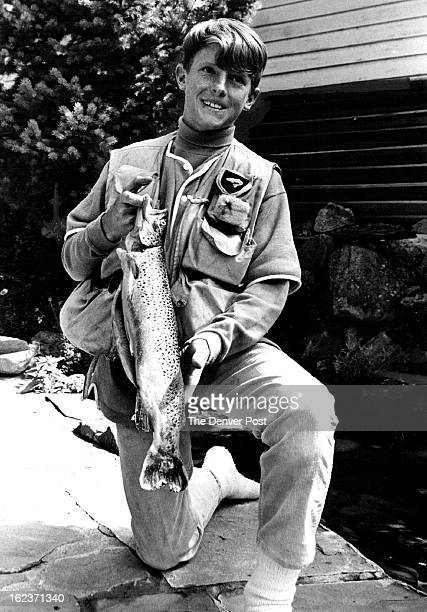 SEP 17 1965 SEP 19 1965 Fishing Expert At Age 13 Jon Wright of Asoen displays the 20inch Roaring Fork Brown Trout weighed 3 pounds Aspen Colo...