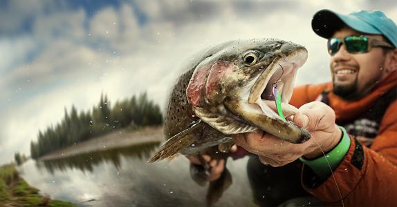 Fishing. Fisherman and trout. Dramatic. 897976442