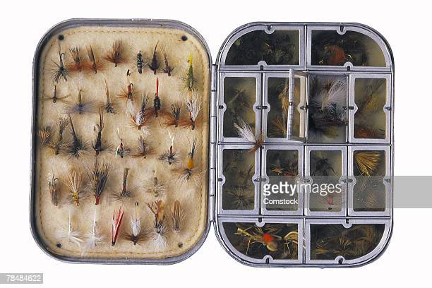 Fishing flies in tackle box