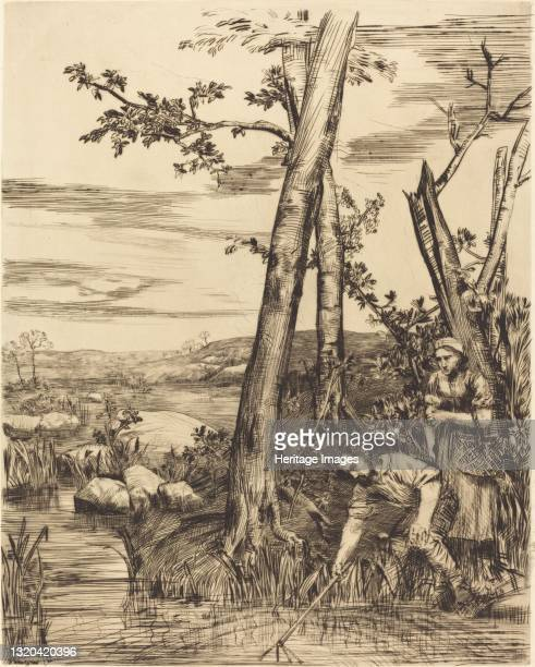 Fishing for Crayfish . Artist Alphonse Legros.