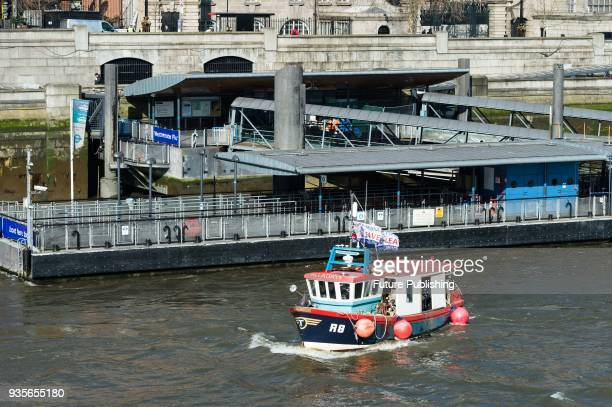 Fishing for Leave campaigners stage a protest on the river Thames in Westminster against the impact of Brexit transition deal on British fishing...
